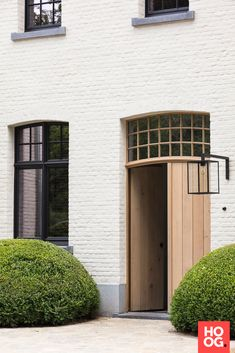Contemporary take, using fine oak, on demi-lune & lantern Exterior Design, Interior And Exterior, Renovation Facade, Front Doors With Windows, Facade Architecture, House Numbers, House Front, Future House, Building A House