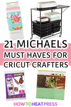 21 Michaels 'Must Haves' For Cricut Crafters! - - Michaels Cricut = a match made in heaven. Here are 21 great products from Michaels for Cricut. Not necessarily Cricut brand products! Cricut Heat Transfer Vinyl, Iron On Cricut, Cricut Iron On Vinyl, Vinyl On Glass, Cricut Craft Room, Michael S, Cricut Explore Air, Cricut Tutorials, Cricut Creations