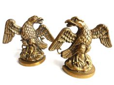 Pair of Antique Solid Brass Fire Place Andirons, Eagle Ornaments, Fire dogs, Fire Place Decor, Chenets, Eagles.