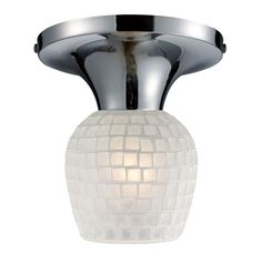 Celina 1 Light Semi Flush In Polished Chrome And White 10152/1PC-WHT