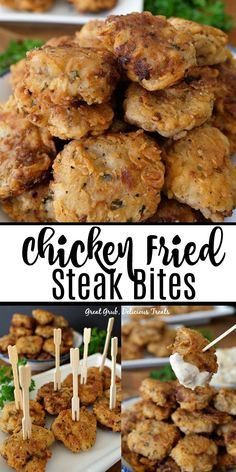 Chicken Fried Steak Bites are crunchy, seasoned perfectly, fried to perfection and are the perfect comfort food. A delicious and easy appetizer recipe perfect any time of the year. appetizers for dinner Chicken Fried Steak Bites Chicken Fried Steak, Fried Chicken Recipes, Meat Recipes, Cooking Recipes, Cooking Videos, Fish Recipes, Healthy Recipes, Chicken Appetizers, Appetizer Recipes
