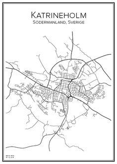 Katrineholm. Sverige. Karta. City print. Print. Affisch. Tavla. Tryck.