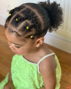 """Hey Bambino on Instagram: """"Braids & rubber bands styling 💁🏽♀️ #closeup 💛"""" Black Toddler Hairstyles, Cute Little Girl Hairstyles, Natural Hairstyles For Kids, Cute Girls Hairstyles, Twist Hairstyles, Curly Hair Styles, Natural Hair Styles, Braids Hairstyles Pictures, Braid Styles"""