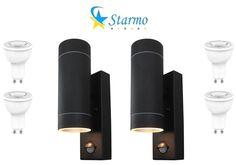2 x Noir starmo Dual PIR Wall Light Up /& Down Détecteur de mouvement SSTEEL IP44
