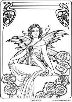 Carnation Fairy Fae Fantasy Myth Mythical Mystical Legend Elf Wings Fantasy Elves Faries Coloring pages colouring adult detailed advanced printable Kleuren voor volwassenen coloriage pour adulte anti-stress