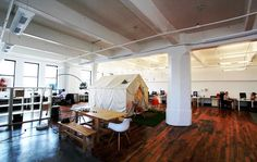 Cool Office Workspace Design Ideas by Loosecubes:Funky Spacious Working Space With A Tent And Silver Arch Lamp For Lighting Workspace Design, Office Workspace, Office Interior Design, Office Interiors, Open Space Office, Creative Office Space, Cool Office, Office Spaces, Office Style