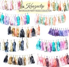 Watercolor Party Tassels Collection by Kaazuclip on Creative Market