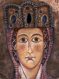Alberto Sozio - Testa della Madonna - ca.  1200 - frammento di tempera su pergamena incollata su carta - Pinacoteca di Brera, Milano, ...