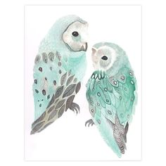 Green Owls Canvas Wall Art - Canvas & Canvas - Canvas & Canvas