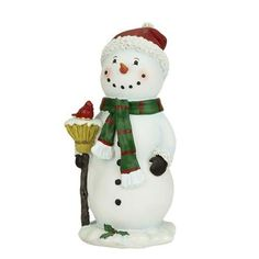 "10.25"" Festive Snowman Holding Broom with Cardinal Bird Christmas Figure"