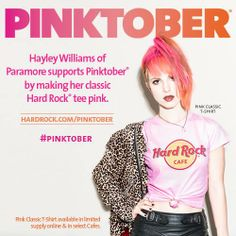 The Pink Classic t-shirt rocks #Pinktober! #MakeItPink with Hayley Williams of Paramore and Hard Rock. #Manchester #ThisIsHardRock