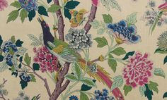 A stunning traditional design from GP & J Baker featuring striking images of bird and flowers, printed on a linen fabric. A statement fabric in any room. Also versatile and makes excellent cushions.Width: 137cm Vertical Repeat: 110cmcm RRP: £9...