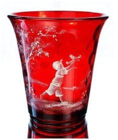 Fenton Mary Gregory Ruby Vase.