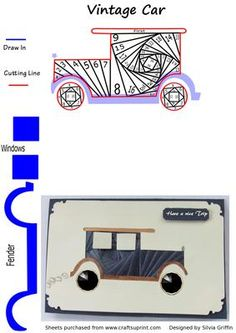 Vintage Car IF on Craftsuprint designed by Silvia Griffin - Just the perfect card to make for Dad, Grand Father, Son and friends. - Now available for download!