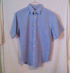 Roundtree & Yorke Medium Blue Brown Plaid Men's Short Sleeve Button Dress Shirt #RoundtreeYorke