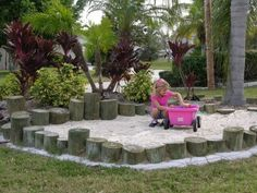 Big sand pit and sandcastle comp. Backyard Beach, Backyard Paradise, Backyard Retreat, Backyard For Kids, Patio Yard Ideas, Child Friendly Garden, Kids Yard, Outdoor Play Spaces, Sand Pit