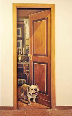 Trompe-lOeil-door-with-bulldog. http://johndugganart.com