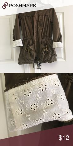 Adorable Olive green jacket! Adorable Olive green jacket! So many details - ribbons on the pockets, optional lace detail at bottom of sleeves (can be rolled down to hide lace) and zipper in front. So many compliments! Jackets & Coats