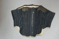 "Riding Corset: ca. late 1870's, satinised cotton riding corset. ""...the sides cut high for ease when riding side saddle..."" * I lowered under arms and added bust darts but may eventually also alter hip line."