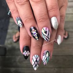 Water Marble + Line Work by Bellissimanails from Nail Art Gallery Abstract Nail Art, Geometric Nail Art, Harry Potter Nail Art, Popular Nail Designs, Work Nails, Animal Nail Art, Rose Nail Art, Nail Art For Beginners, Marble Nail Art