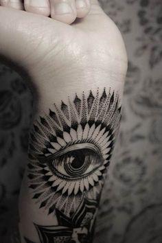 Bruno Almeida is watching you! OK, that's not true, but he made one hell of an impressive tattoo. #inked #Inkedmag #tattoo #eye #mandala #wrist #idea #cute