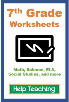 Printable and online worksheets for 7th grade. Worksheets cover math, science, ELA, social studies, and other subject areas. 7th Grade Ela, 7th Grade Science, Seventh Grade, Science Worksheets, School Worksheets, Free Printable Worksheets, Common Core Ela, Common Core Standards, Close Reading Strategies