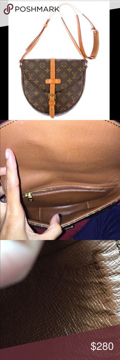 Louis Vuitton chantilly The purse is in good condition. The straps has flaws and has cracking. The straps part where you close and open it has cracking. Louis Vuitton Bags Crossbody Bags