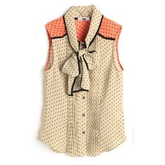Apricot Polka Pussy Bow Sleeveless Chiffon Pleated Blouse ($65) ❤ liked on Polyvore featuring tops, blouses, shirts, blusas, silk blouses, leopard print blouse, henley shirt, polka dot shirt and chiffon shirt