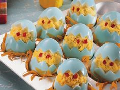 Easter egg deviled eggs.  How cute is this??