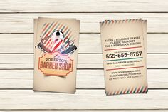Barber Shop Business Card Template by Hotpin on Creative Market