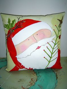 Santa Pillow Hand Painted MADE TO ORDER 12x12 by PAINTEDPILLOWS