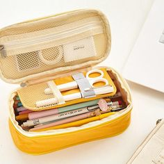 Yellow pencil case I found this amazing Double-layer Pencil Pen Case Office College School Large Capacity Pencil Bag w Cute Pencil Case, School Pencil Case, Large Pencil Case, Pencil Bags, Pencil Pouch, Too Cool For School, Back To School, College School, Medical School