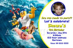 12 SPONGE BOB Out of the water Birthday party invitations personalized PRINTED #BirthdayChild #spongebob #invitation