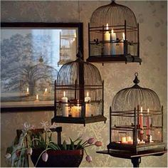 10. Repurposed ~ bird cages as candle holders ( I love this! )