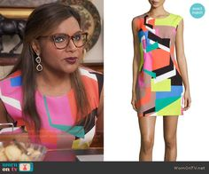 Mindy's multi colored geometric shapes print dress on The Mindy Project. Outfit Details: https://wornontv.net/57602/ #TheMindyProject Buy it at Neiman Marcus: http://wornon.tv/36052