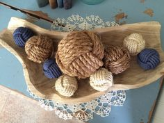 Decorative Rope Balls Nautical Rustic Rope Balls  Beach House Decor  Monkey Fist Knots