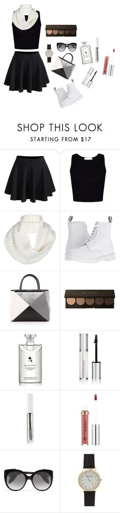 """""""black x white✖️"""" by safnaakh ❤ liked on Polyvore featuring WithChic, UGG, Dr. Martens, Fendi, Bulgari, Givenchy, BBrowBar, Anastasia Beverly Hills, Alexander McQueen and ootd"""
