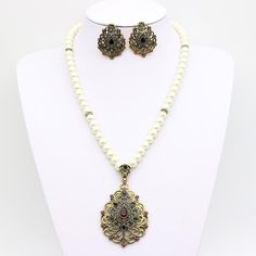 Romantic Vintage Pearl Beaded Turkish Jewelry Sets Antique Gold Color Necklace Earrings Anniversary Party Jewelry