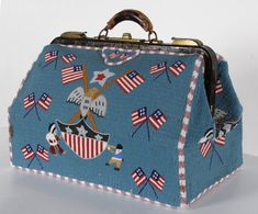 Jeff Bridgman Antique Flags and Painted Furniture - MONUMENTAL BEADED NATIVE AMERICAN DOCTOR'S BAG WITH FLAGS AND EAGLES, OF EXTRAORDINARY SIZE, BEADED ALL THE WAY AROUND AND ON THE UNDERSIDE, LOUISIANA ORIGIN