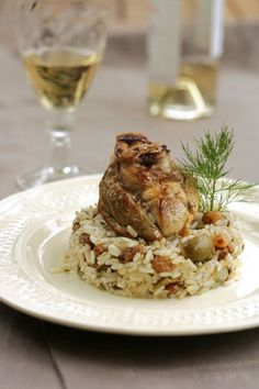 Greek island lamb stuffed with rice, herbs and nuts.
