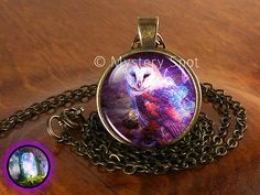 """✿ Handmade Fantasy Glass Dome Photo Mythical Owl Jewelry, Owl Necklace, Owl Pendant, Owl Charm Gift for Him or Her (1). Each necklace and pendant is created using solid fine antique brass, crystal clear glass, and a sturdy lobster claw clasp affixed to a long 24"""" quality brass chain that I can change length for you free of charge by request. FREE WORLDWIDE SHIPPING!    ✽ View More Mythical Creature Items: http://etsy.me/1TSJzRm    ✿ Buyers: I begin to craft your items the same day I receive…"""