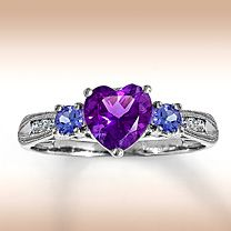 Tanzanite & Amethyst heart-shaped ring for someone special.