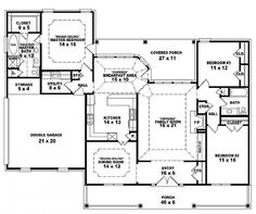One Story Open Floor Plans One story 3 bedroom 2 bath french