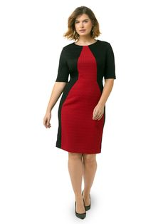 Colorblock Sheath Dress In Red & Black by @londontimes  Available in sizes 10-16and 14W-24W