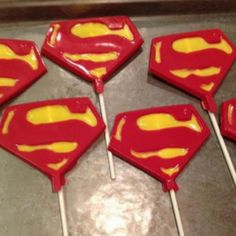Superman shield chocolate pops