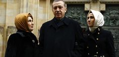 Recep Tayyip Erdogan, his wife and daughter.