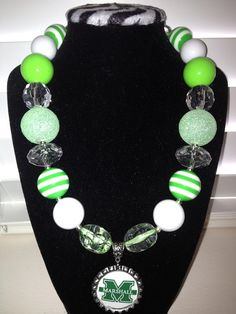 Marshall University bubblegum necklace