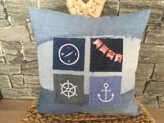 Denim Pillow With Sailing Patches , Decorative Toss Pillow , Denim Throw Pillow , Embroidered Pillow , Denim Sham Pillow , Maritime Decor by SecondBirthday on Etsy