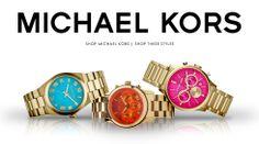 "Michael Kors ""Channing"" Turquoise Dial Goldtone 3-Hand Watch, Michael Kors Runway Orange Dial Chronograph Watch, and Michael Kors Bailey Chr..."