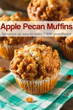 This apple pecan muffin recipe is full of chunks of apple and topped with a delicious crunchy mixture of pecans, cinnamon and sugar - 7 Weight Watchers Freestyle SmartPoints! - Try subbing flour for Kodiak Cakes Buttermilk Powercakes Mix! Ww Recipes, Muffin Recipes, Apple Recipes, Cake Recipes, Dessert Recipes, Recipies, Cupcakes, Cupcake Cakes, Muffins Sains